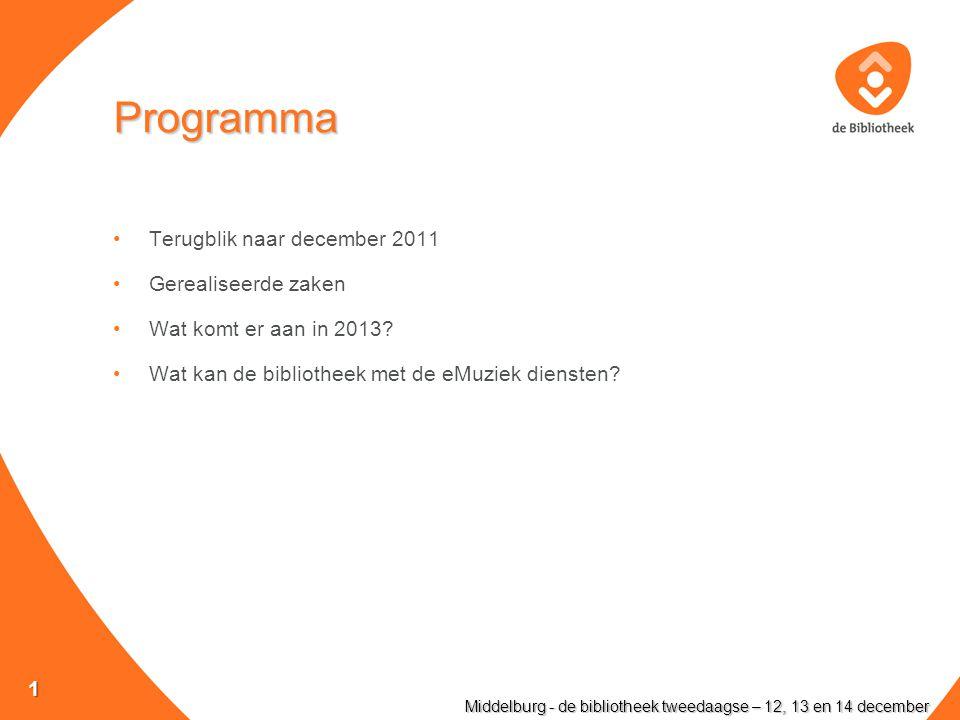 Programma Terugblik naar december 2011 Gerealiseerde zaken Wat komt er aan in 2013.