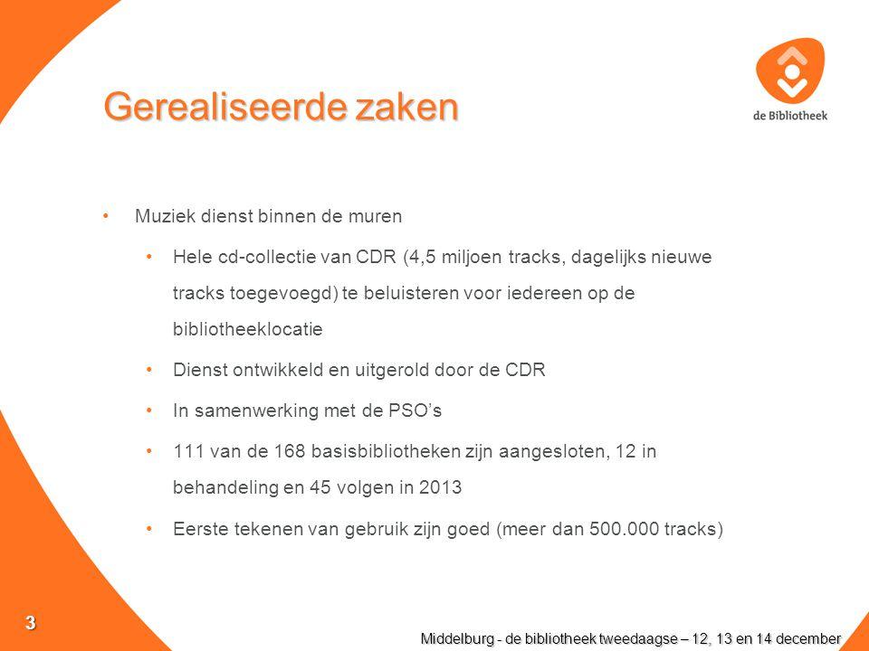 Gerealiseerde zaken Muziek dienst binnen de muren Hele cd-collectie van CDR (4,5 miljoen tracks, dagelijks nieuwe tracks toegevoegd) te beluisteren voor iedereen op de bibliotheeklocatie Dienst ontwikkeld en uitgerold door de CDR In samenwerking met de PSO's 111 van de 168 basisbibliotheken zijn aangesloten, 12 in behandeling en 45 volgen in 2013 Eerste tekenen van gebruik zijn goed (meer dan 500.000 tracks) Middelburg - de bibliotheek tweedaagse – 12, 13 en 14 december 3