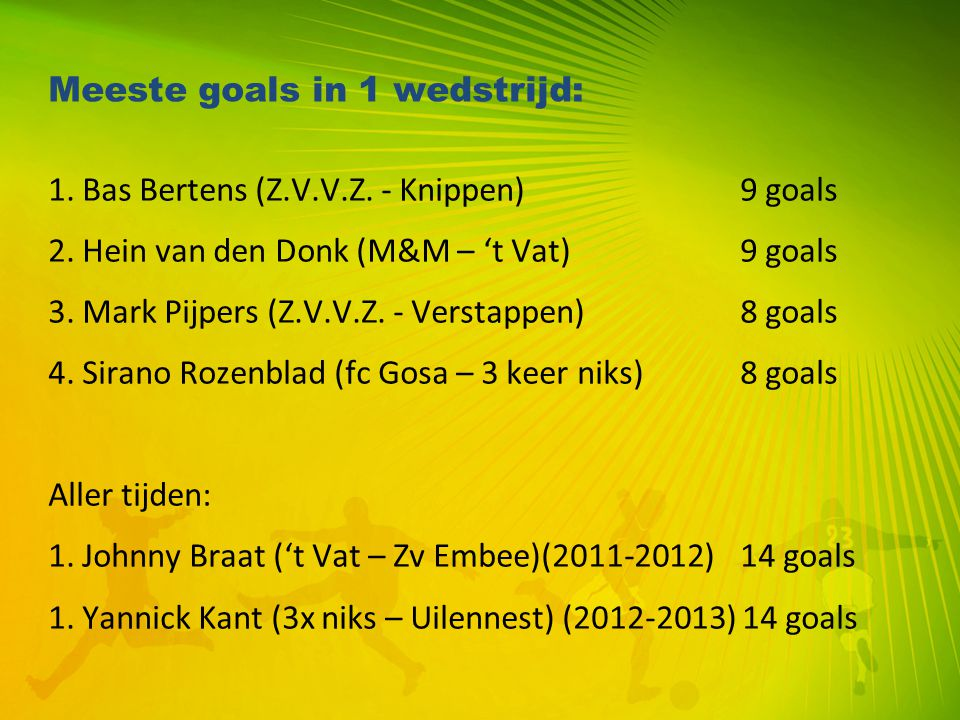 Meeste goals in 1 wedstrijd: 1. Bas Bertens (Z.V.V.Z. - Knippen) 9 goals 2. Hein van den Donk (M&M – 't Vat) 9 goals 3. Mark Pijpers (Z.V.V.Z. - Verst