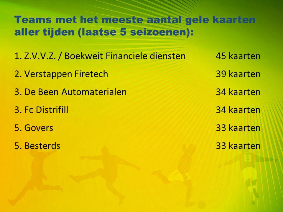 Teams met het meeste aantal gele kaarten aller tijden (laatse 5 seizoenen): 1. Z.V.V.Z. / Boekweit Financiele diensten45 kaarten 2. Verstappen Firetec