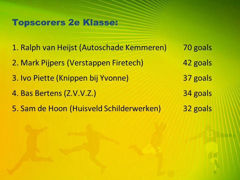 Topscorers 2e Klasse: 1. Ralph van Heijst (Autoschade Kemmeren)70 goals 2. Mark Pijpers (Verstappen Firetech) 42 goals 3. Ivo Piette (Knippen bij Yvon