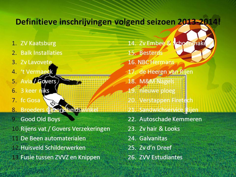 Definitieve inschrijvingen volgend seizoen 2013-2014! 1.ZV Kaatsburg 14.Zv Embee & Schoenmakers 2.Balk Installaties 15.Besterds 3.Zv Lavovete 16. NBC