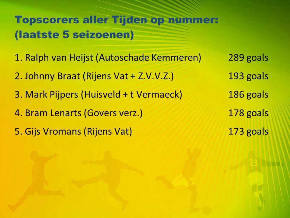 Topscorers aller Tijden op nummer: (laatste 5 seizoenen) 1. Ralph van Heijst (Autoschade Kemmeren) 289 goals 2. Johnny Braat (Rijens Vat + Z.V.V.Z.) 1