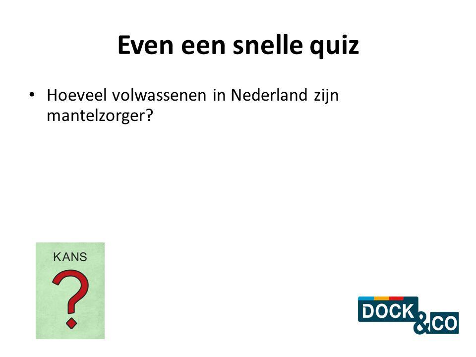Even een snelle quiz Hoeveel volwassenen in Nederland zijn mantelzorger?