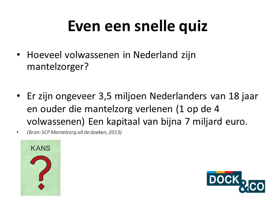 Even een snelle quiz Hoeveel volwassenen in Nederland zijn mantelzorger? Er zijn ongeveer 3,5 miljoen Nederlanders van 18 jaar en ouder die mantelzorg