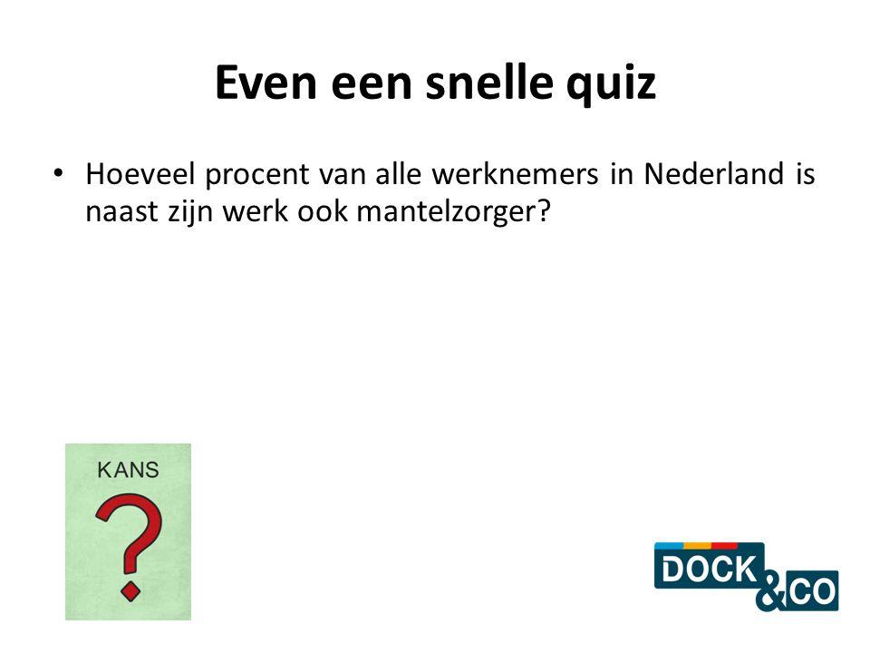Even een snelle quiz Hoeveel procent van alle werknemers in Nederland is naast zijn werk ook mantelzorger?
