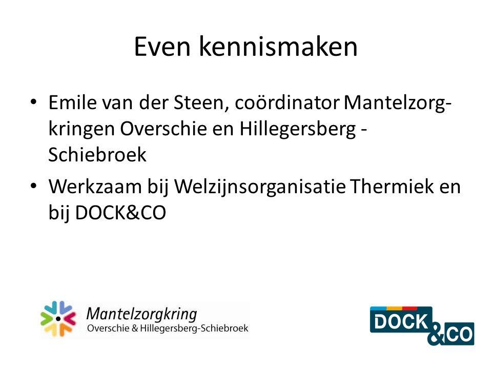 Even kennismaken Emile van der Steen, coördinator Mantelzorg- kringen Overschie en Hillegersberg - Schiebroek Werkzaam bij Welzijnsorganisatie Thermie