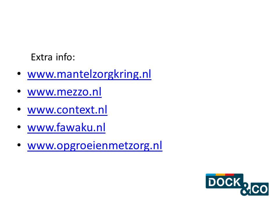 Extra info: www.mantelzorgkring.nl www.mezzo.nl www.context.nl www.fawaku.nl www.opgroeienmetzorg.nl