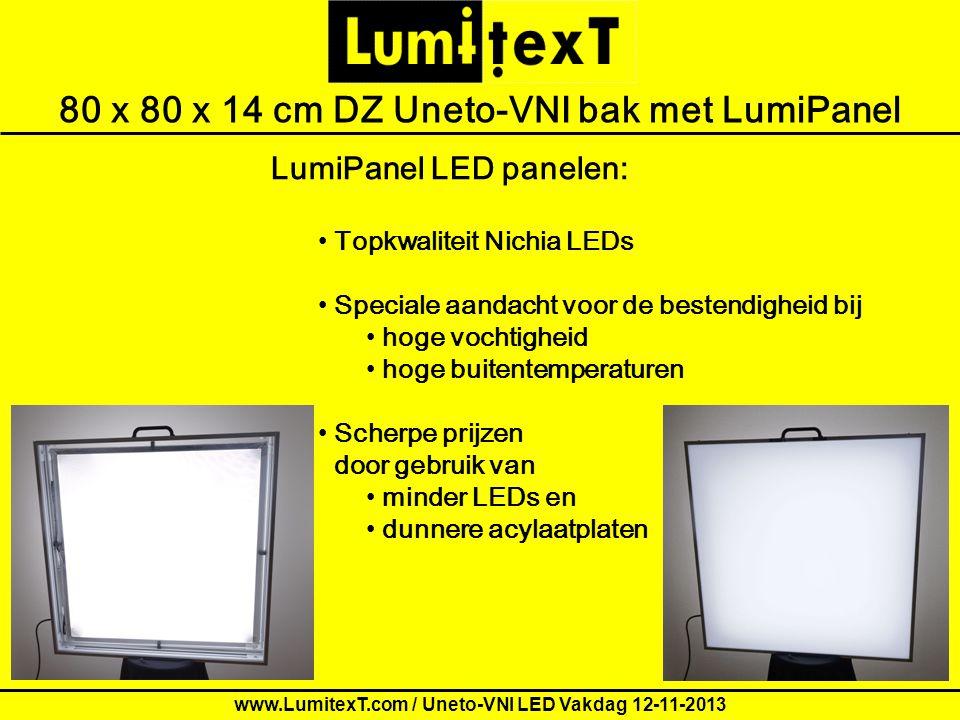 Order form for LumitexT demo Letters80 x 80 x 14 cm DZ Uneto-VNI bak met LumiPanel LumiPanel LED panelen: Topkwaliteit Nichia LEDs Speciale aandacht v