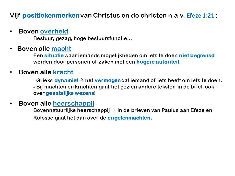 Vijf positiekenmerken van Christus en de christen n.a.v. Efeze 1:21 : Boven overheid Bestuur, gezag, hoge bestuursfunctie… Boven alle macht Een situat