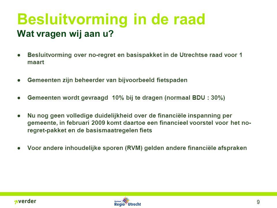 9 Besluitvorming in de raad Wat vragen wij aan u? ●Besluitvorming over no-regret en basispakket in de Utrechtse raad voor 1 maart ●Gemeenten zijn behe