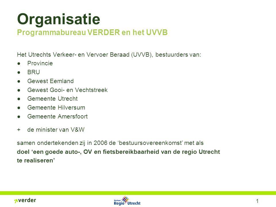 1 Organisatie Programmabureau VERDER en het UVVB Het Utrechts Verkeer- en Vervoer Beraad (UVVB), bestuurders van: ●Provincie ●BRU ●Gewest Eemland ●Gew