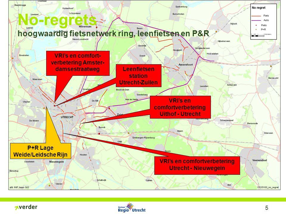 5 No-regrets hoogwaardig fietsnetwerk ring, leenfietsen en P&R VRI's en comfort- verbetering Amster- damsestraatweg VRI's en comfortverbetering Utrech
