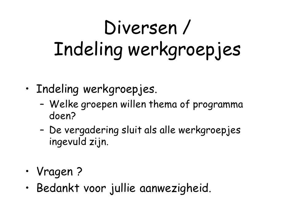 Diversen / Indeling werkgroepjes Indeling werkgroepjes.