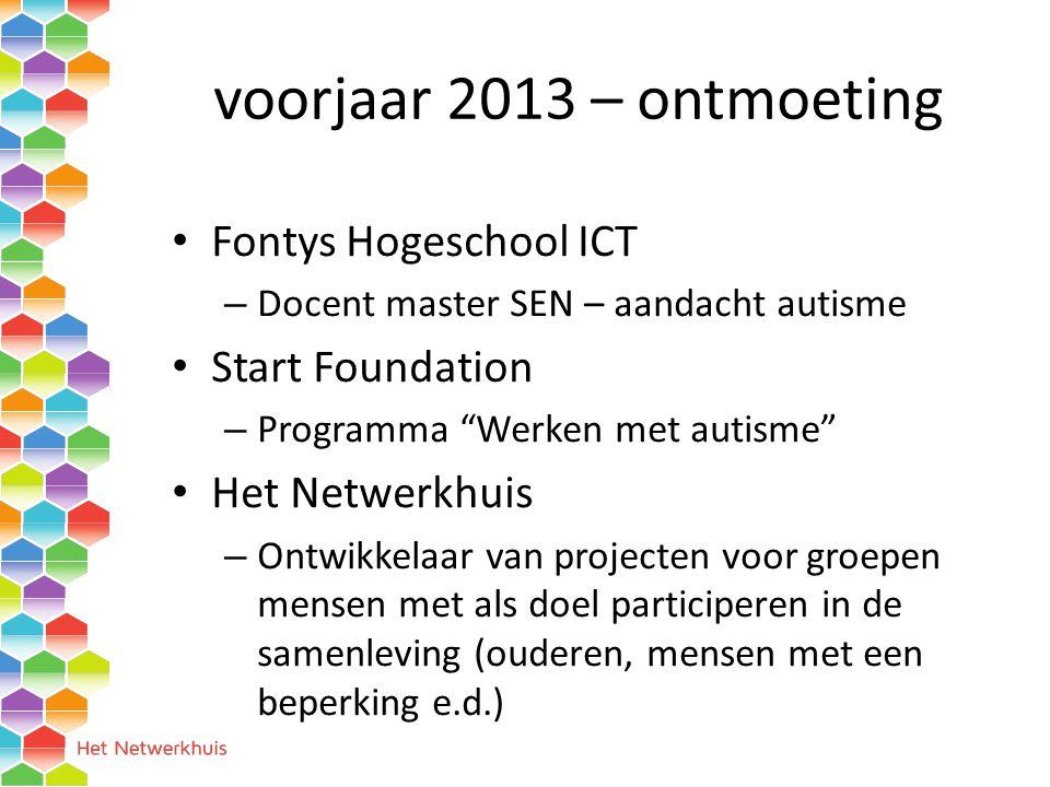 voorjaar 2013 – ontmoeting Fontys Hogeschool ICT – Docent master SEN – aandacht autisme Start Foundation – Programma Werken met autisme Het Netwerkhuis – Ontwikkelaar van projecten voor groepen mensen met als doel participeren in de samenleving (ouderen, mensen met een beperking e.d.)