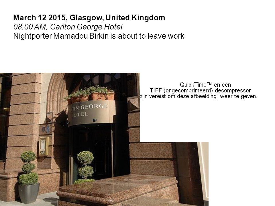 March 12 2015, Glasgow, United Kingdom 08.00 AM, Carlton George Hotel Nightporter Mamadou Birkin is about to leave work