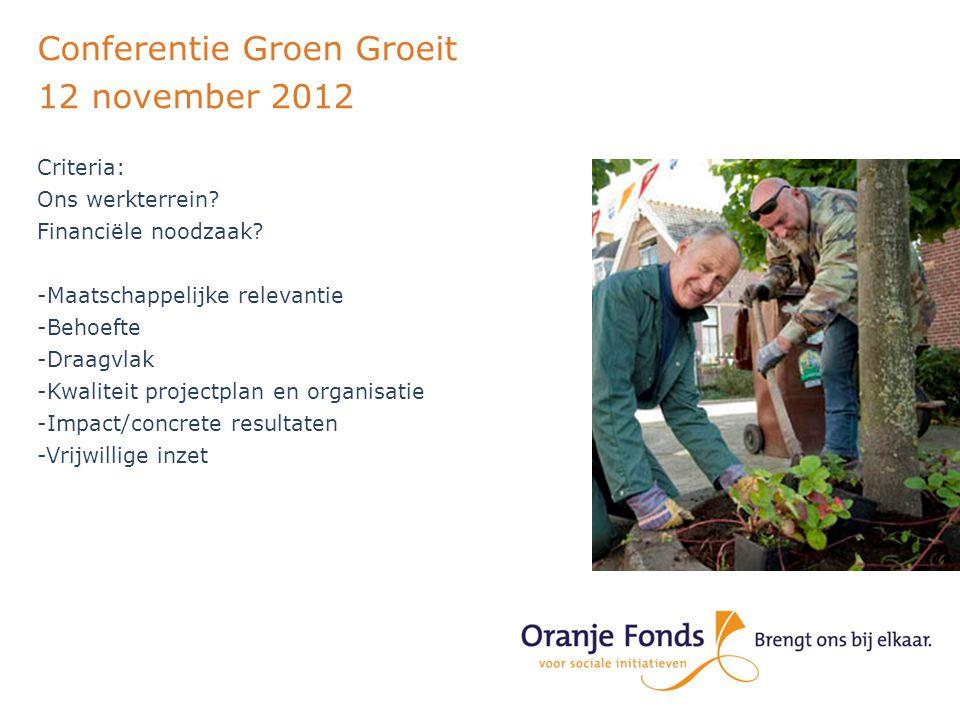 Conferentie Groen Groeit 12 november 2012 Criteria: Ons werkterrein.