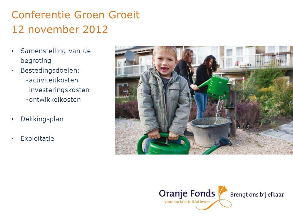 Conferentie Groen Groeit 12 november 2012 Actueel thema, veel belangstelling www.oranjefonds.nl www.groendichterbij.nl