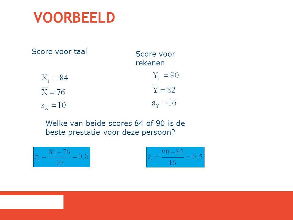VOORBEELD Score voor taal Score voor rekenen Welke van beide scores 84 of 90 is de beste prestatie voor deze persoon?