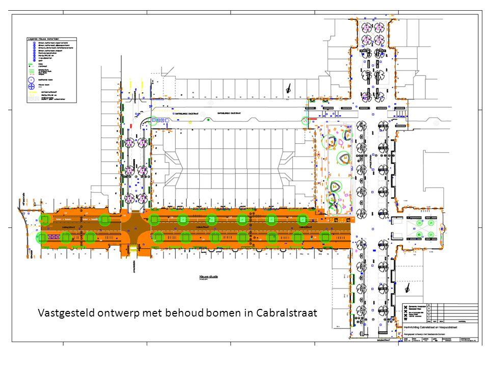 Vastgesteld ontwerp met behoud bomen in Cabralstraat