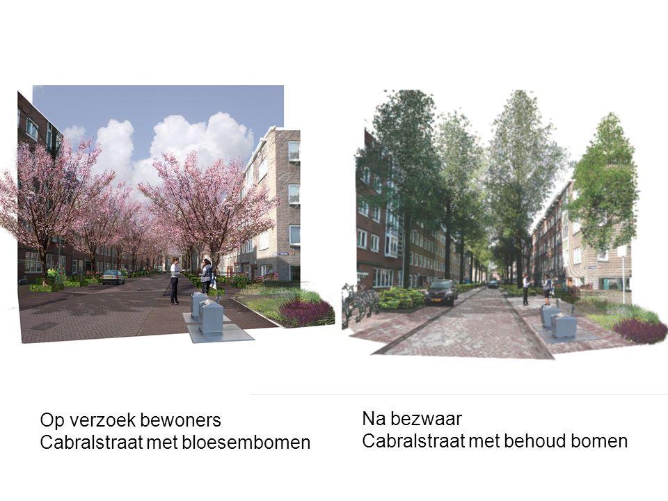 Op verzoek bewoners Cabralstraat met bloesembomen Na bezwaar Cabralstraat met behoud bomen