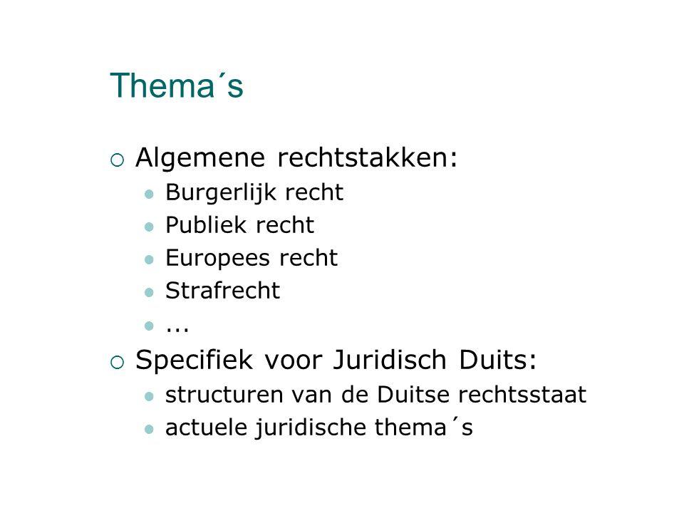 Thema´s  Algemene rechtstakken: Burgerlijk recht Publiek recht Europees recht Strafrecht...