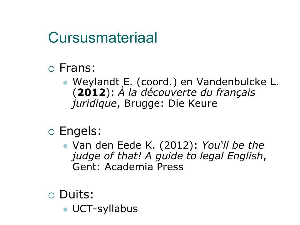 Cursusmateriaal  Frans: Weylandt E. (coord.) en Vandenbulcke L.