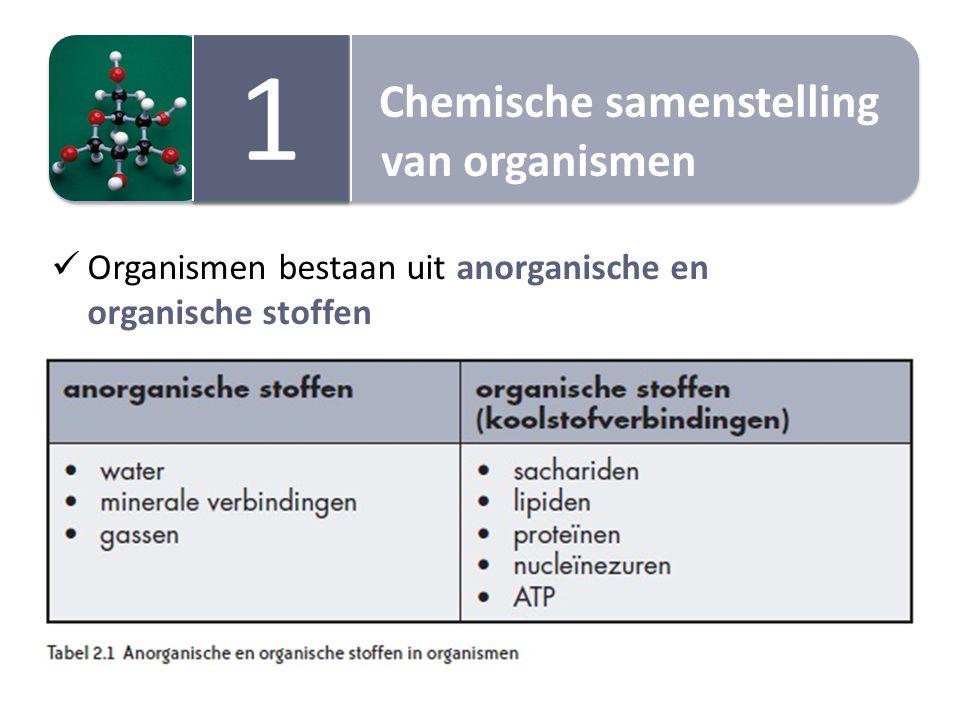 Chemische samenstelling van organismen Chemische samenstelling van organismen 1 1 Organismen bestaan uit anorganische en organische stoffen