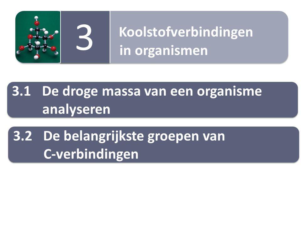 Koolstofverbindingen in organismen Koolstofverbindingen in organismen 3 3 3.1De droge massa van een organisme analyseren 3.1De droge massa van een organisme analyseren 3.2De belangrijkste groepen van C-verbindingen 3.2De belangrijkste groepen van C-verbindingen