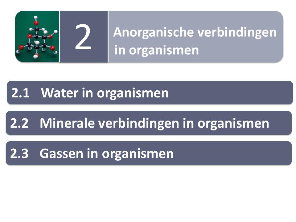 Anorganische verbindingen in organismen Anorganische verbindingen in organismen 2 2 2.1Water in organismen 2.2Minerale verbindingen in organismen 2.3Gassen in organismen