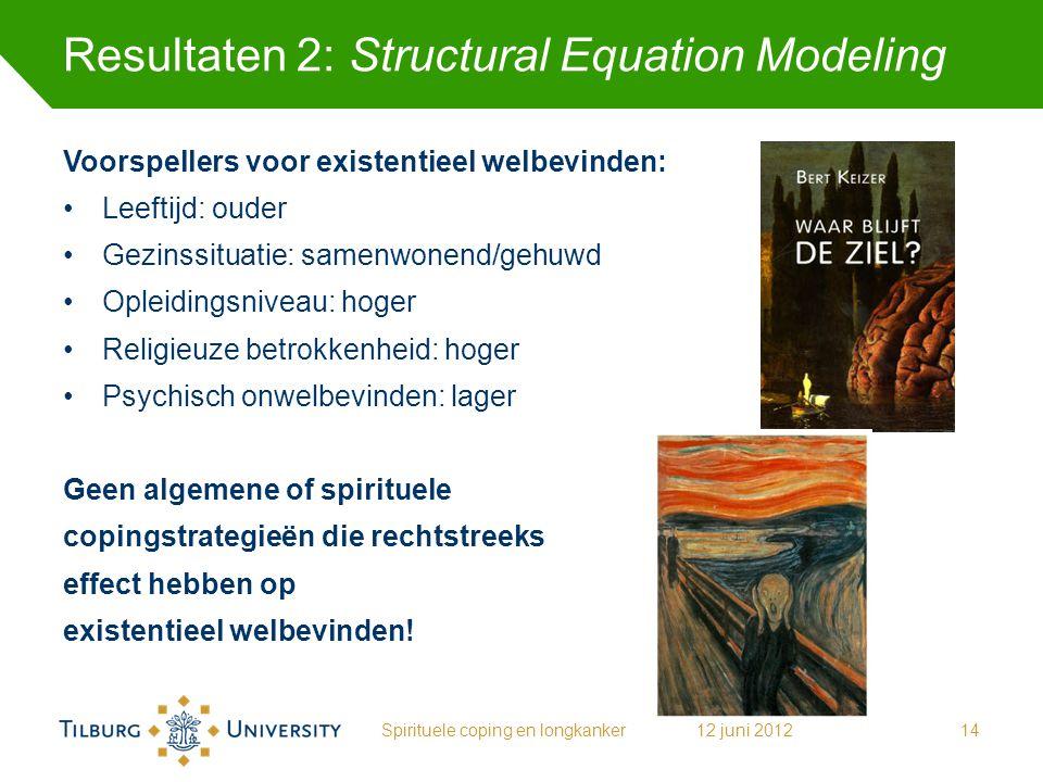 Resultaten 2: Structural Equation Modeling Voorspellers voor existentieel welbevinden: Leeftijd: ouder Gezinssituatie: samenwonend/gehuwd Opleidingsni