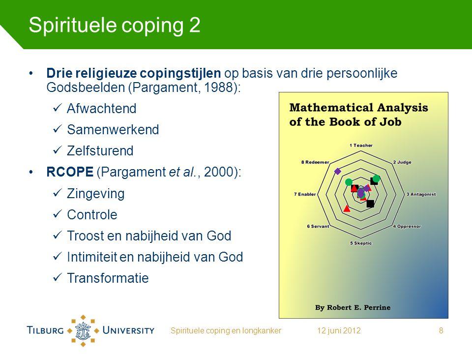 Spirituele coping 2 Drie religieuze copingstijlen op basis van drie persoonlijke Godsbeelden (Pargament, 1988): Afwachtend Samenwerkend Zelfsturend RC