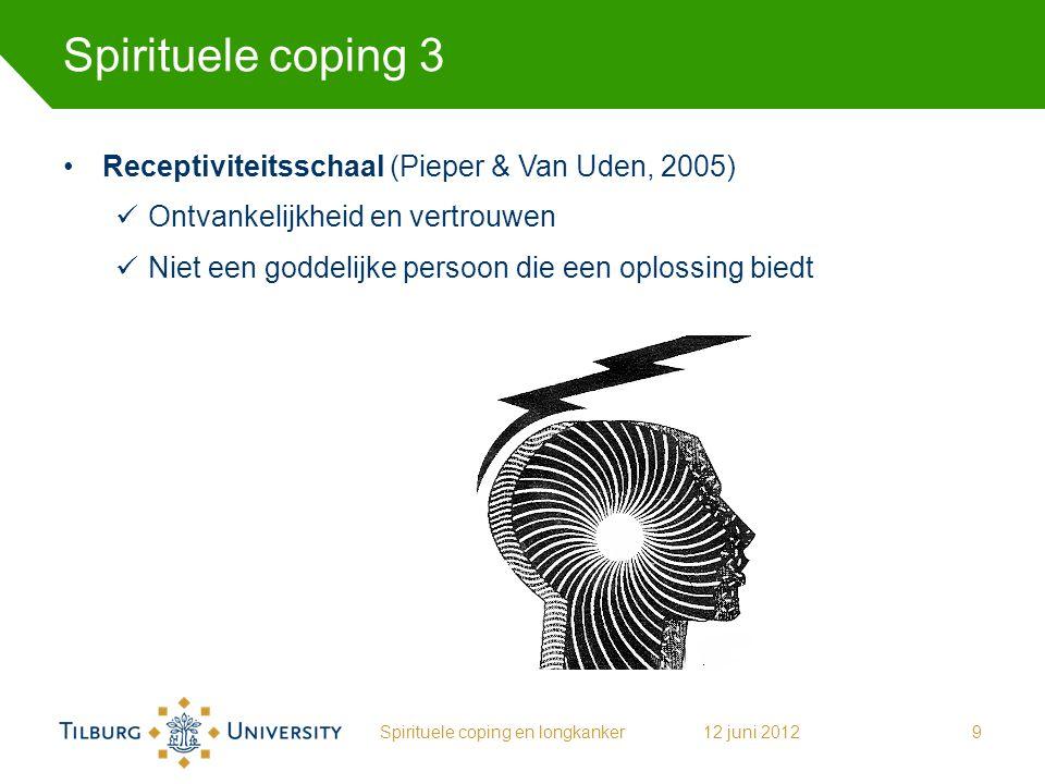 Spirituele coping 3 Receptiviteitsschaal (Pieper & Van Uden, 2005) Ontvankelijkheid en vertrouwen Niet een goddelijke persoon die een oplossing biedt