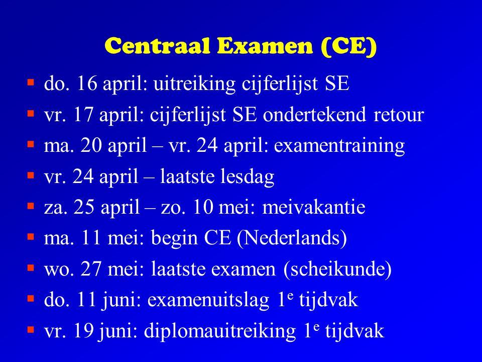 Centraal Examen (CE)  do. 16 april: uitreiking cijferlijst SE  vr. 17 april: cijferlijst SE ondertekend retour  ma. 20 april – vr. 24 april: examen