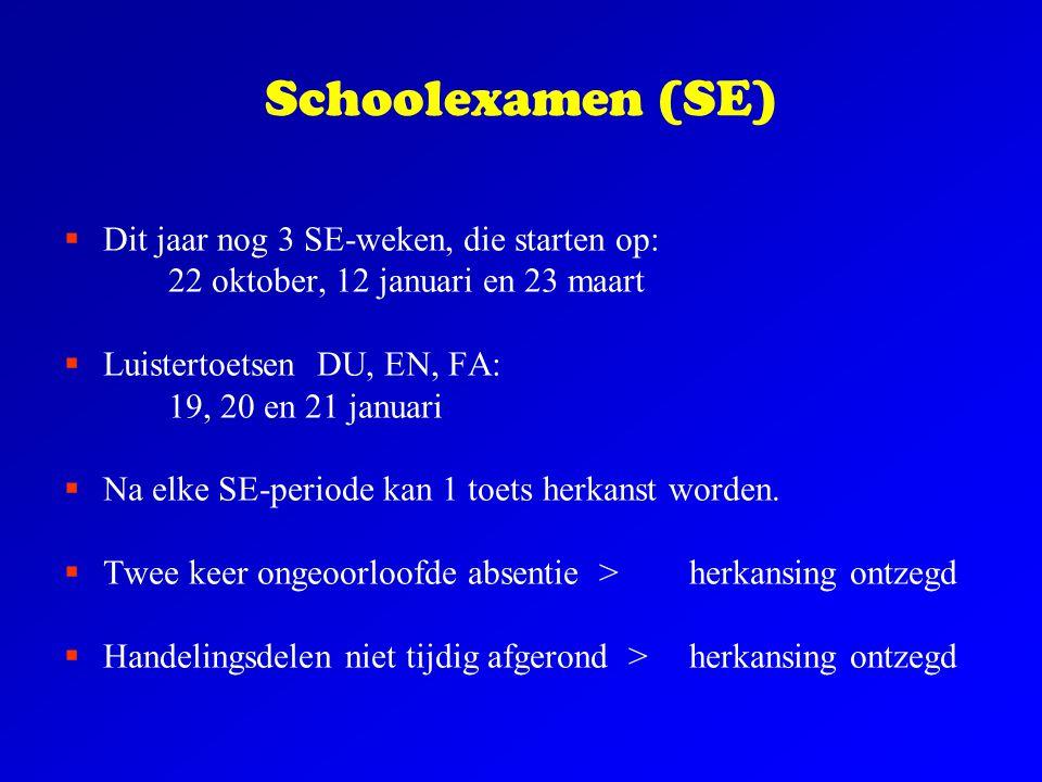 Schoolexamen (SE)  Dit jaar nog 3 SE-weken, die starten op: 22 oktober, 12 januari en 23 maart  Luistertoetsen DU, EN, FA: 19, 20 en 21 januari  Na