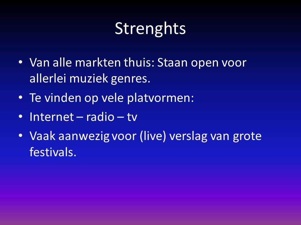 Strenghts Van alle markten thuis: Staan open voor allerlei muziek genres. Te vinden op vele platvormen: Internet – radio – tv Vaak aanwezig voor (live