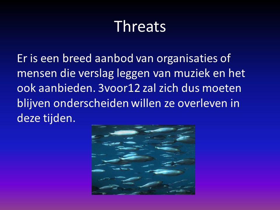Threats Er is een breed aanbod van organisaties of mensen die verslag leggen van muziek en het ook aanbieden. 3voor12 zal zich dus moeten blijven onde