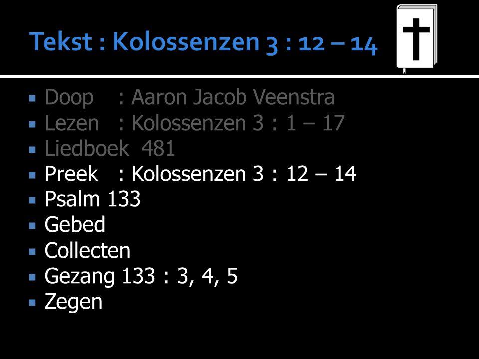  Doop: Aaron Jacob Veenstra  Lezen: Kolossenzen 3 : 1 – 17  Liedboek 481  Liedboek 481  Preek: Kolossenzen 3 : 12 – 14  Psalm 133  Psalm 133  Gebed  Collecten  Gezang 133 : 3, 4, 5  Zegen
