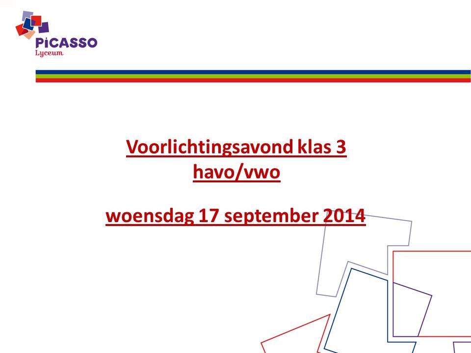 Voorlichtingsavond klas 3 havo/vwo woensdag 17 september 2014
