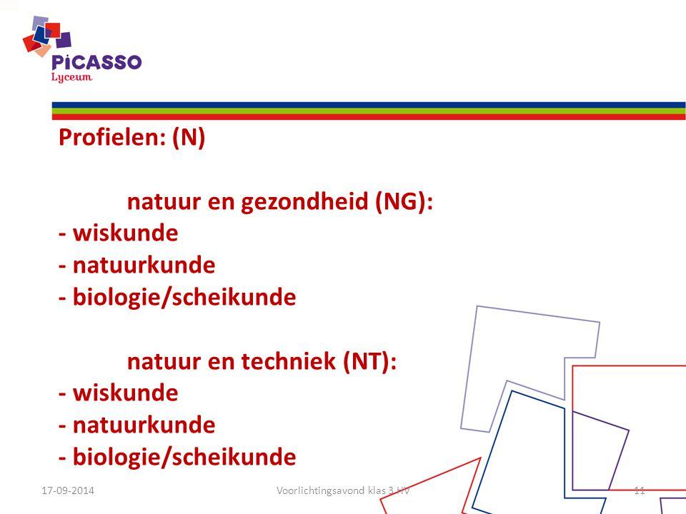 17-09-2014Voorlichtingsavond klas 3 HV11 Profielen: (N) natuur en gezondheid (NG): - wiskunde - natuurkunde - biologie/scheikunde natuur en techniek (