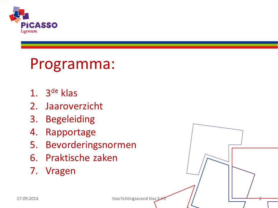 17-09-2014Voorlichtingsavond klas 3 HV2 Programma: 1.3 de klas 2.Jaaroverzicht 3.Begeleiding 4.Rapportage 5.Bevorderingsnormen 6.Praktische zaken 7.Vr