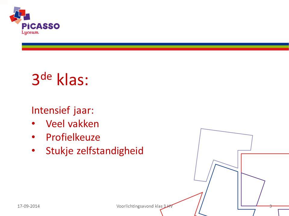 17-09-2014Voorlichtingsavond klas 3 HV3 3 de klas: Intensief jaar: Veel vakken Profielkeuze Stukje zelfstandigheid