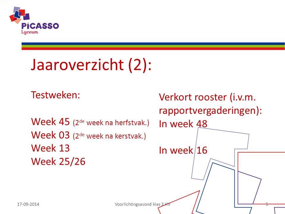 17-09-2014Voorlichtingsavond klas 3 HV5 Jaaroverzicht (2): Testweken: Week 45 (2 de week na herfstvak.) Week 03 (2 de week na kerstvak.) Week 13 Week