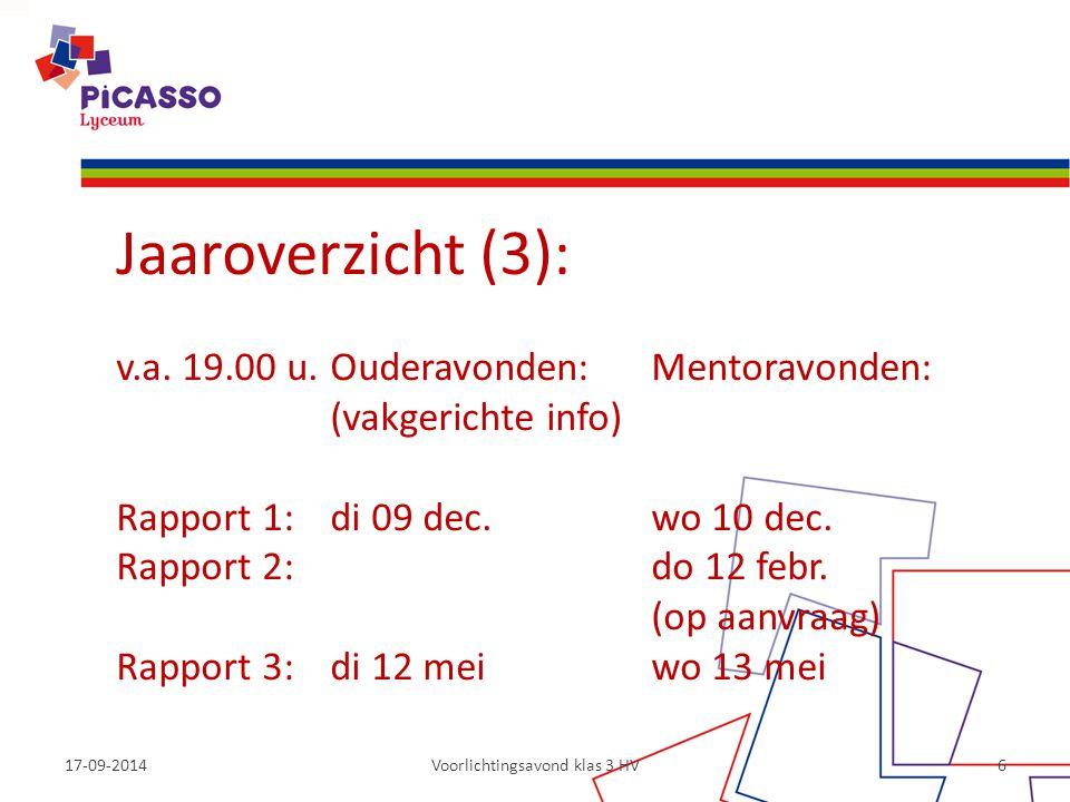 17-09-2014Voorlichtingsavond klas 3 HV6 Jaaroverzicht (3): v.a. 19.00 u.Ouderavonden: Mentoravonden: (vakgerichte info) Rapport 1: di 09 dec. wo 10 de