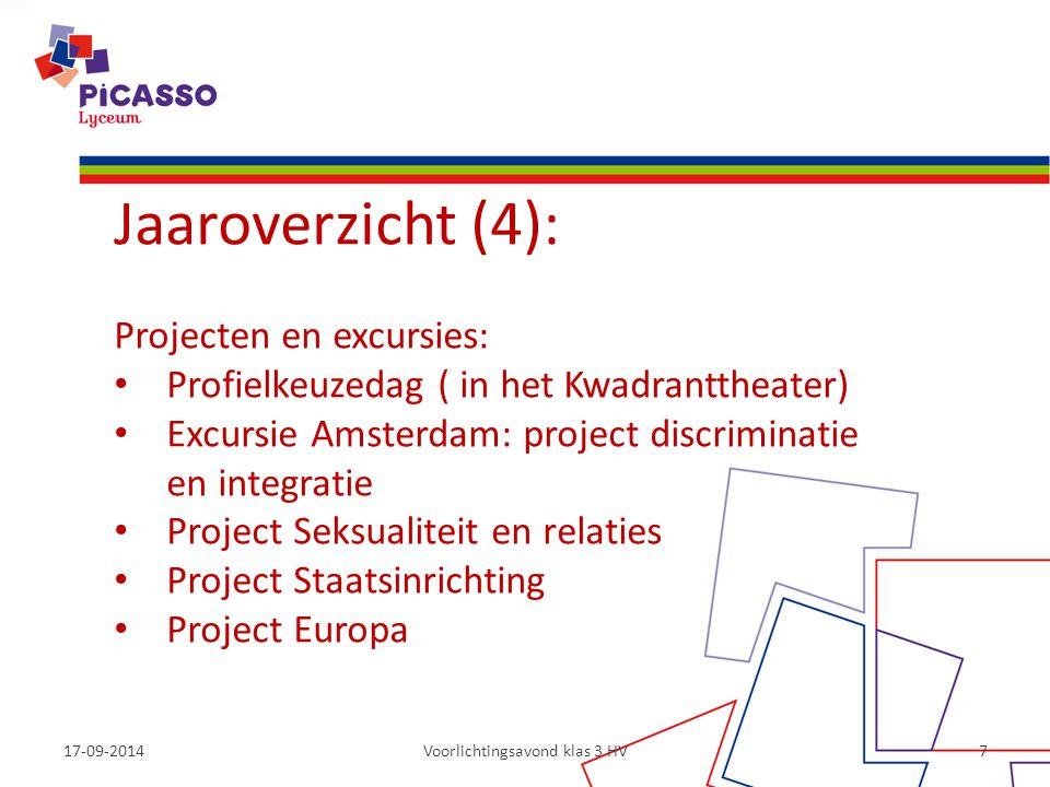 17-09-2014Voorlichtingsavond klas 3 HV7 Jaaroverzicht (4): Projecten en excursies: Profielkeuzedag ( in het Kwadranttheater) Excursie Amsterdam: proje