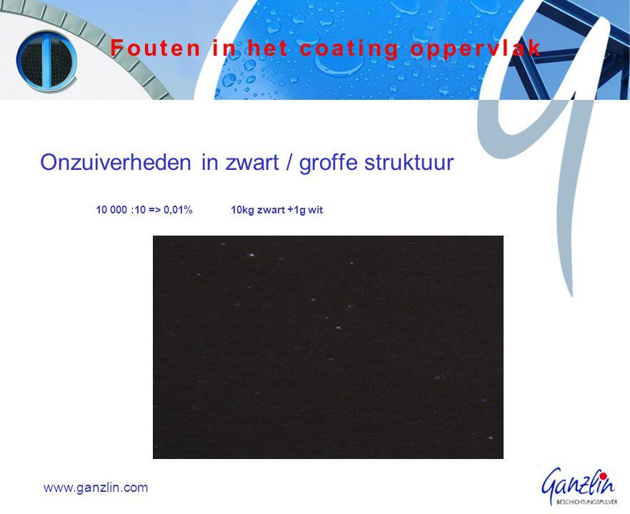 Onzuiverheden in zwart / groffe struktuur 10 000 :10 => 0,01%10kg zwart +1g wit www.ganzlin.com Fouten in het coating oppervlak