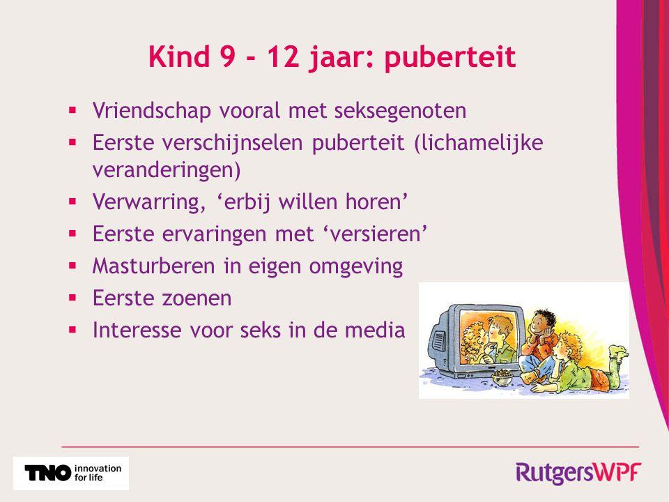 Kind 9 - 12 jaar: puberteit  Vriendschap vooral met seksegenoten  Eerste verschijnselen puberteit (lichamelijke veranderingen)  Verwarring, 'erbij
