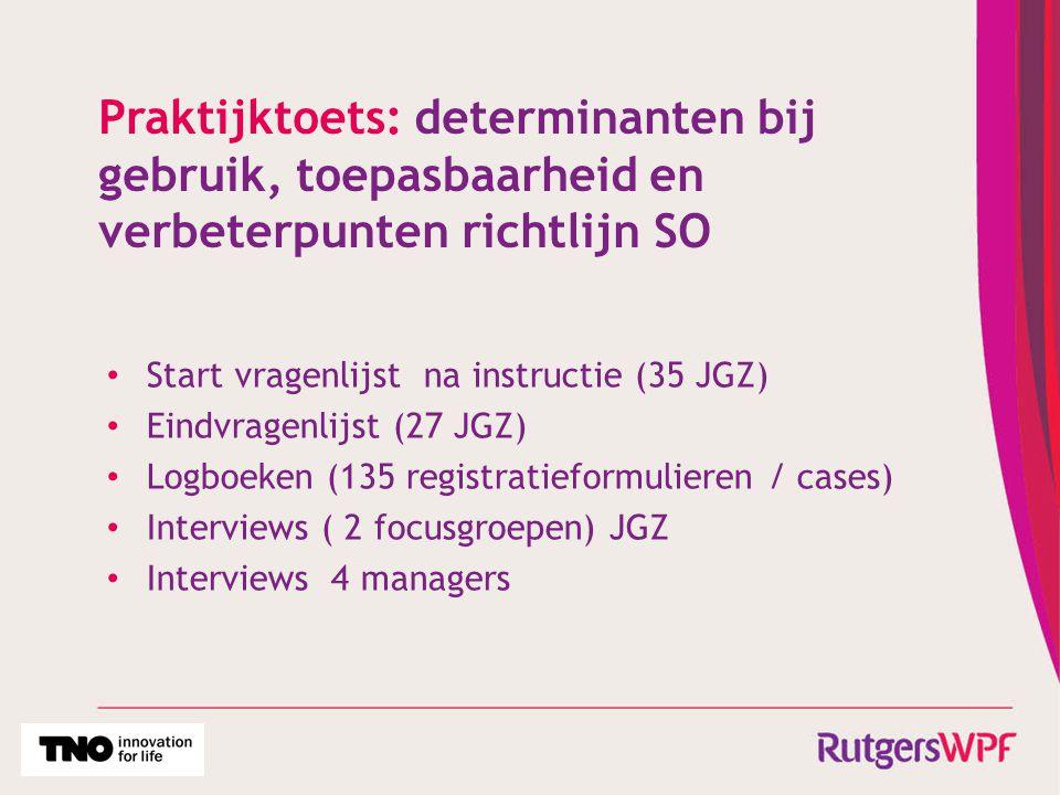 Praktijktoets: determinanten bij gebruik, toepasbaarheid en verbeterpunten richtlijn SO Start vragenlijst na instructie (35 JGZ) Eindvragenlijst (27 J