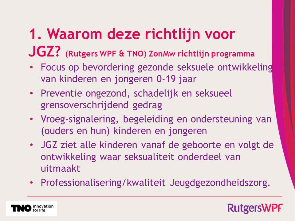 1. Waarom deze richtlijn voor JGZ? (Rutgers WPF & TNO) ZonMw richtlijn programma Focus op bevordering gezonde seksuele ontwikkeling van kinderen en jo