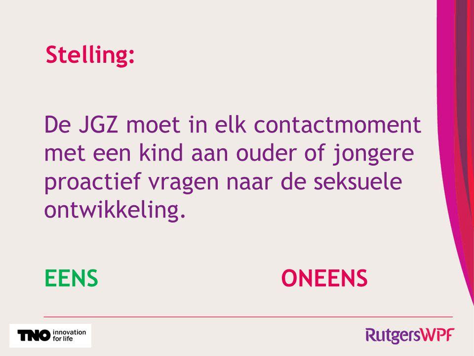 Stelling: De JGZ moet in elk contactmoment met een kind aan ouder of jongere proactief vragen naar de seksuele ontwikkeling. EENSONEENS